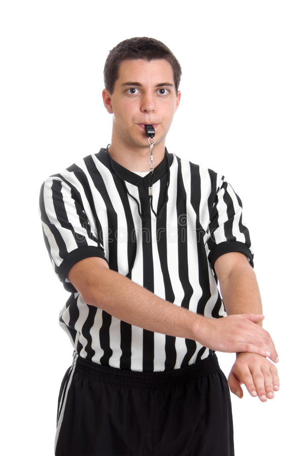 Referee giving defensive foul sign stock photos