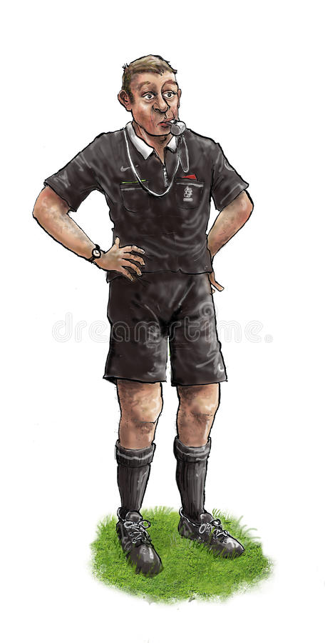Referee. Illustration of a referee in black clothes royalty free illustration