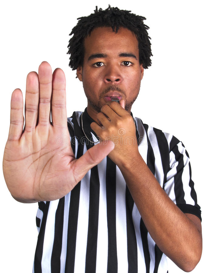 Referee with play gesture royalty free stock image