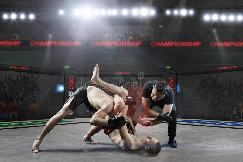 Referee is stopping mma fight. Referee is stopping the fight in mma championship royalty free stock photo
