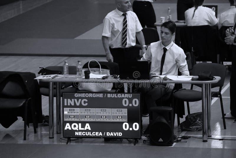 Jiu Jitsu referees. Referees on tatami. Jiu-Jitsu Romanian Championship took place in Constanta, Sala Sporturilor, May 2018 stock photos
