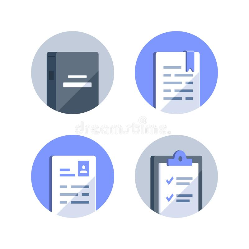 Reference book, exam preparation, subject learning course, assignment concept, book summary, application form, checklist clipboard. Exam preparation, subject royalty free illustration