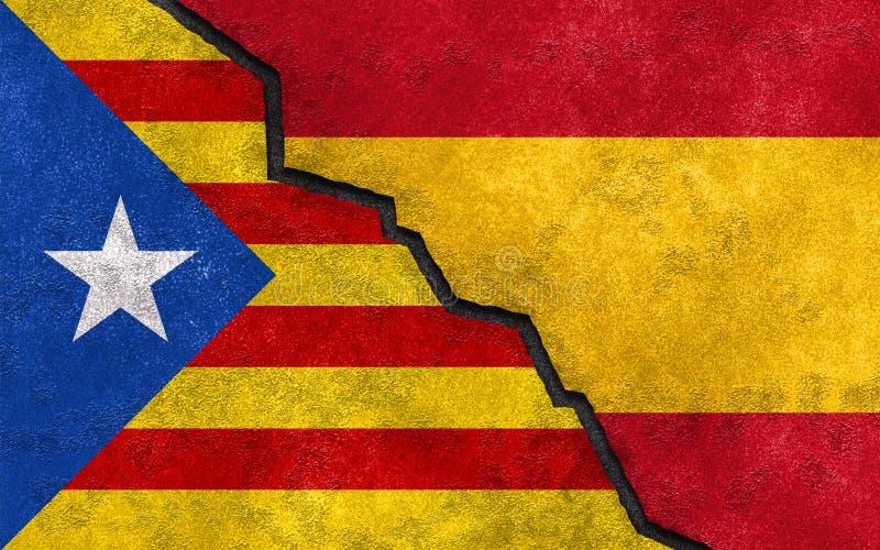 Referendo Catalan da independência no conceito da bandeira da Espanha foto de stock