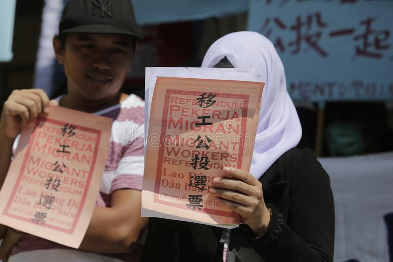 Referendum dei lavoratori migranti fotografie stock libere da diritti