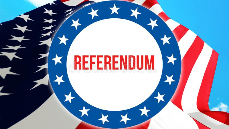 Referendum election on a USA background, 3D rendering. United States of America flag waving in the wind. Voting, Freedom Democracy. Referendum concept. US stock illustration