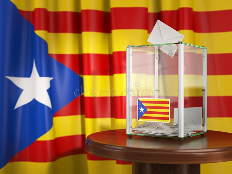 Referendum of independence of Catalonia concept. Ballot box with royalty free illustration
