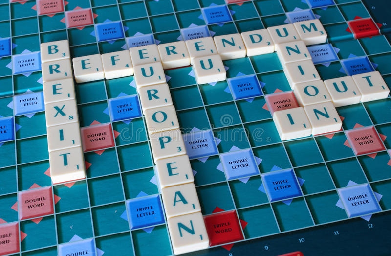 Referendum words. Word board spelling out the words of the referendum and brexit royalty free stock images
