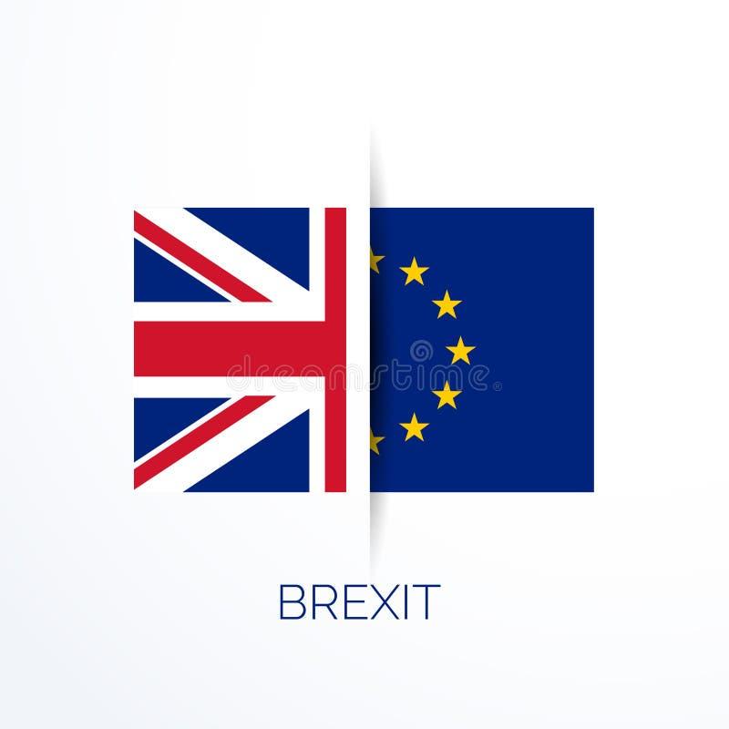 Referensum de Brexit con las banderas de Reino Unido y del eu ilustración del vector