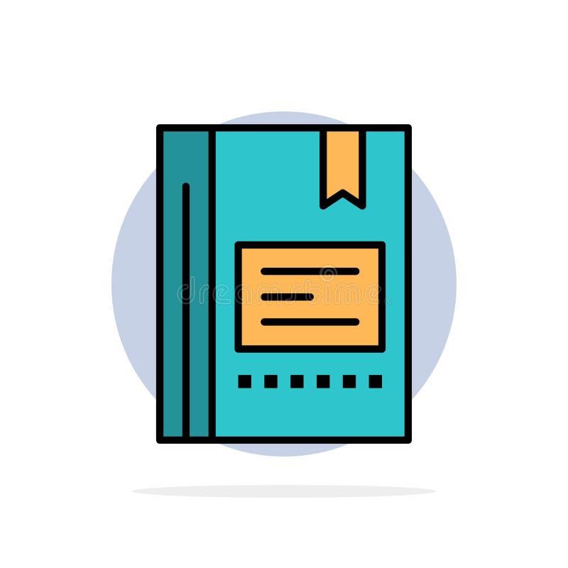 Referentie, Boek dat, Onderwijs, Favoriet, Nota, Notitieboekje, Abstracte Cirkelachtergrond Vlak kleurenpictogram leest stock illustratie