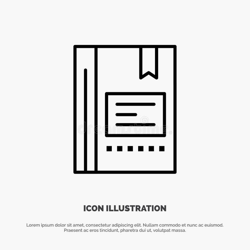 Referentie, Boek die, Onderwijs, Favoriet, Nota, Notitieboekje, de Vector van het Lijnpictogram lezen vector illustratie