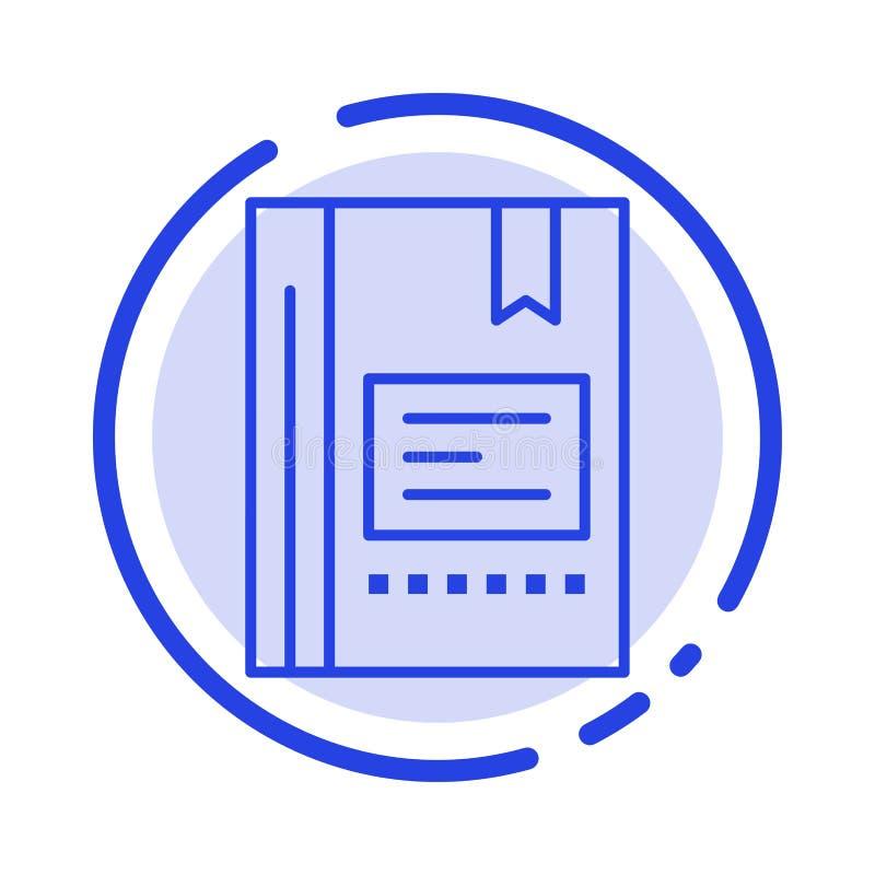 Referentie, Boek die, Onderwijs, Favoriet, Nota, Notitieboekje, het Blauwe Pictogram van de Gestippelde Lijnlijn lezen stock illustratie