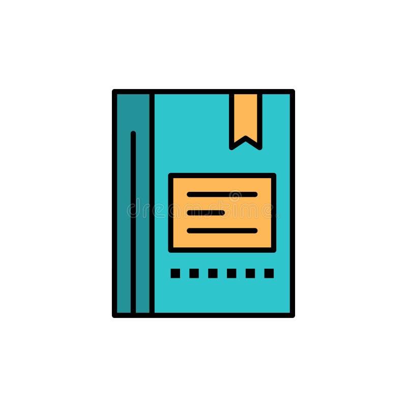 Referentie, Boek die, Onderwijs, Favoriet, Nota, Notitieboekje, Vlak Kleurenpictogram lezen Het vectormalplaatje van de pictogram stock illustratie
