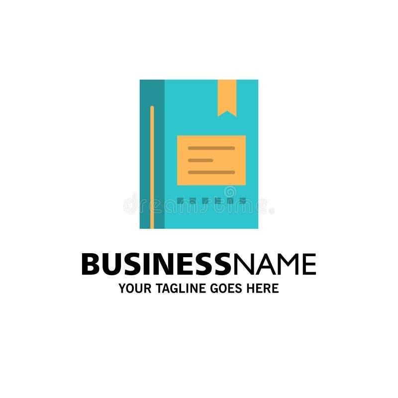 Referentie, Boek die, Onderwijs, Favoriet, Nota, Notitieboekje, Zaken Logo Template lezen vlakke kleur royalty-vrije illustratie