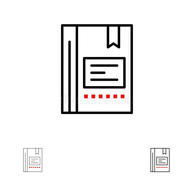 Referentie, Boek, Onderwijs, Favoriet, Nota, Notitieboekje, Lezend de Gewaagde en dunne zwarte reeks van het lijnpictogram stock illustratie