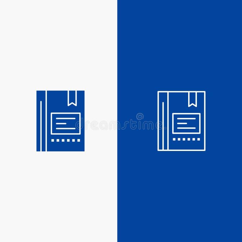 Referentie, Boek, Onderwijs, Favoriet, Nota, Notitieboekje, Lezend Lijn en Glyph Stevig pictogram Blauwe bannerlijn en Glyph Stev stock illustratie