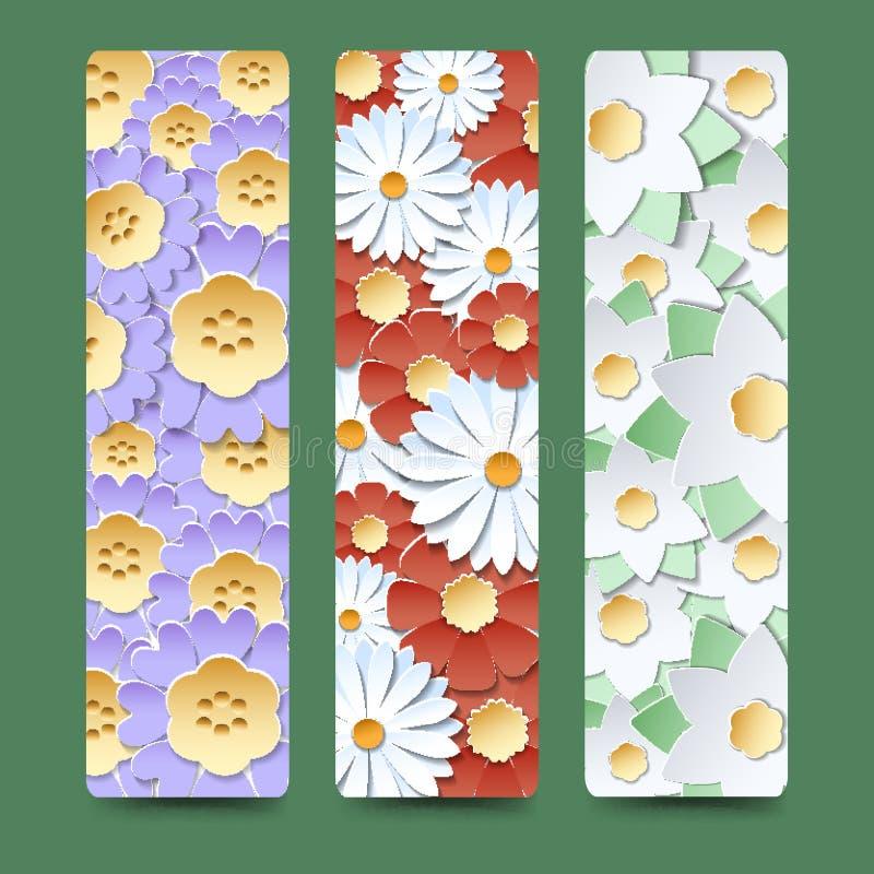 Referentie die met bloeiende bloemboeketten wordt geplaatst royalty-vrije illustratie