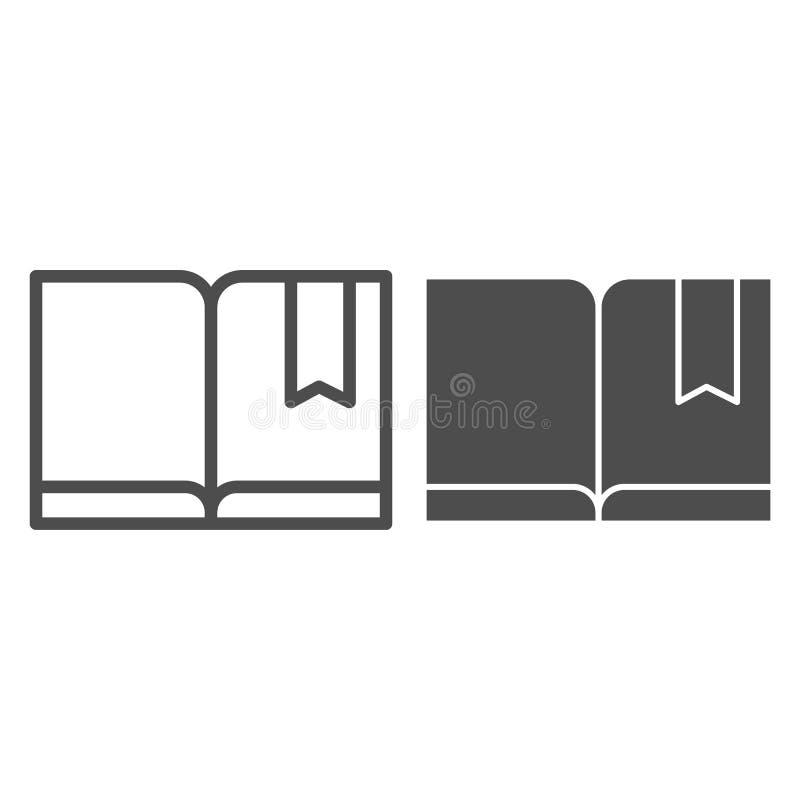 Referentie met boeklijn en glyph pictogram Lees vectordieillustratie op wit wordt geïsoleerd De stijlontwerp van het kennisoverzi vector illustratie