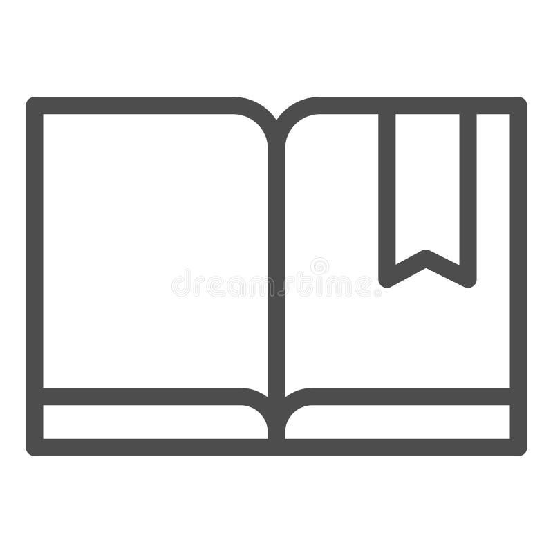 Referentie met het pictogram van de boeklijn Lees vectordieillustratie op wit wordt geïsoleerd De stijlontwerp van het kennisover royalty-vrije illustratie