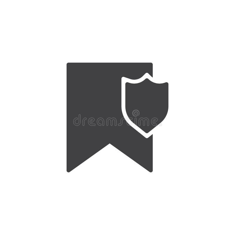 Referentie met schild vectorpictogram stock illustratie
