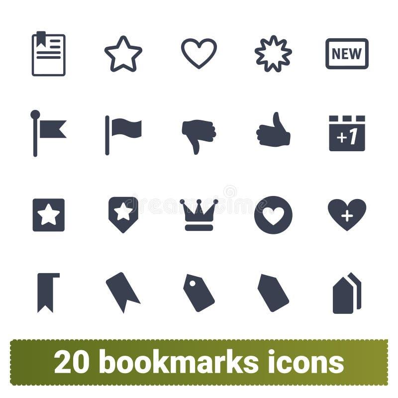 Referentie, Stem, Markering en Geplaatste Favorietenpictogrammen royalty-vrije illustratie