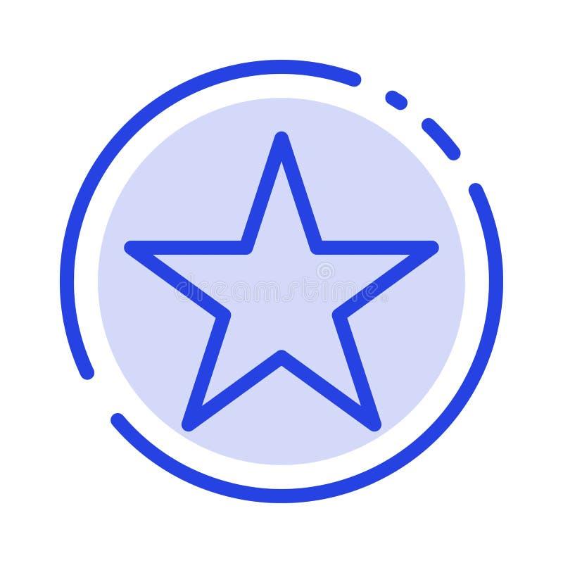 Referentie, Ster, Media het Blauwe Pictogram van de Gestippelde Lijnlijn vector illustratie