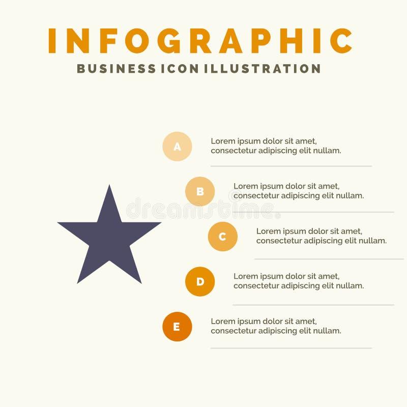 Referentie, Ster, Media Stevig Pictogram Infographics 5 de Achtergrond van de Stappenpresentatie stock illustratie