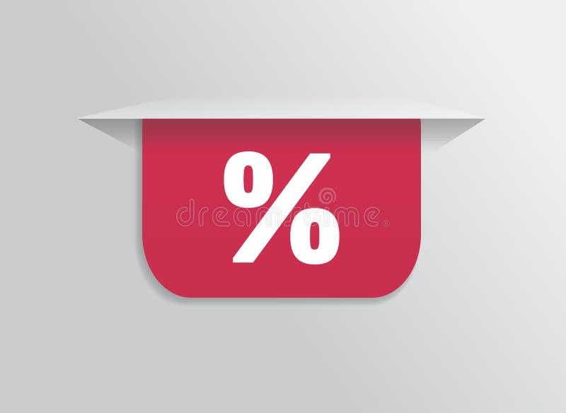Referentie, sticker, etiket, markering met symboolpercenten stock illustratie