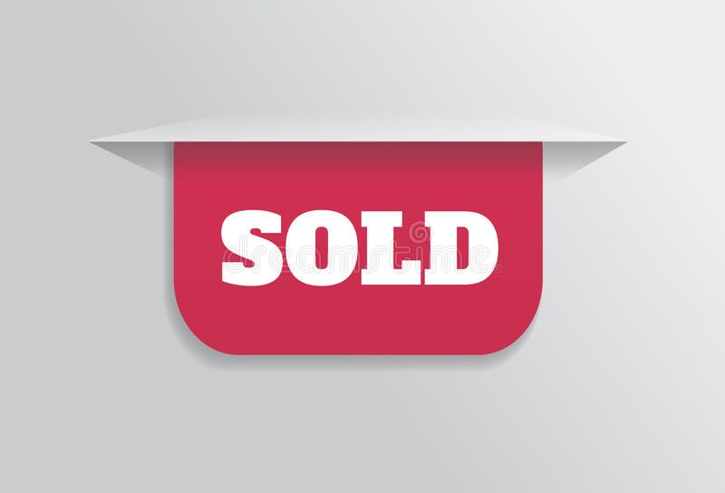 Referentie, sticker, etiket, markering met verkochte tekst royalty-vrije illustratie