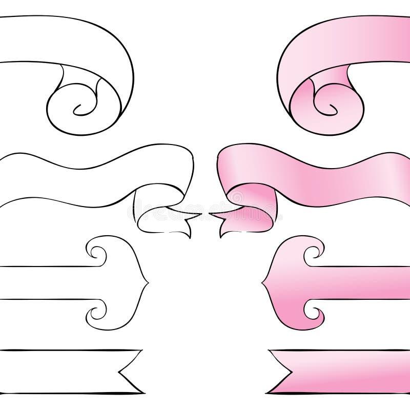 Referentiereeks Roze linten op een witte achtergrond royalty-vrije illustratie