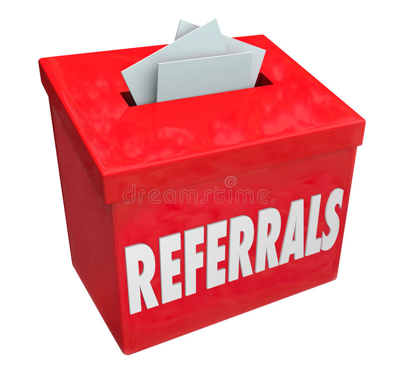 Referrals Box Collecting Word of Mouth Customers. Referrals word on 3d red box for collecting word of mouth customers referred by loyal clients stock illustration