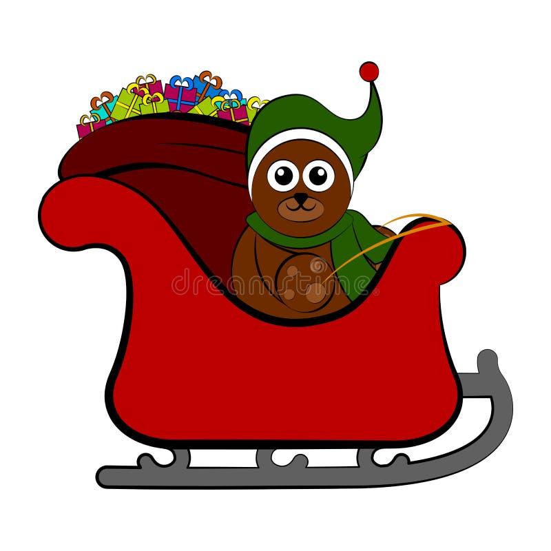 Refiera un trineo de la Navidad stock de ilustración
