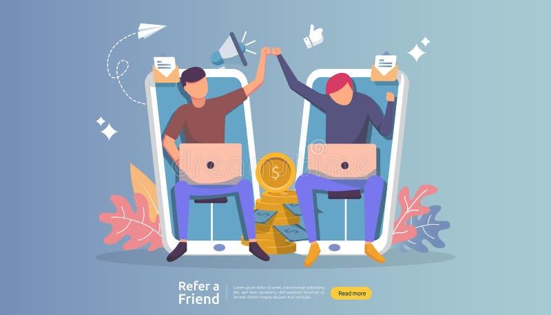 refiera una sociedad del afiliado del amigo y gane el dinero estrategia de comercialización del concepto carácter de la gente que ilustración del vector