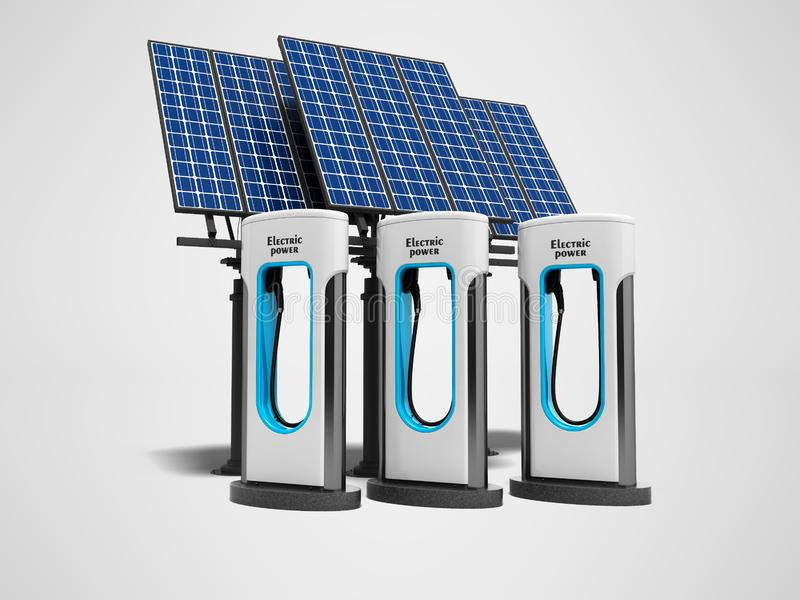 Refill концепции зеленый electro с панелями солнечных батарей 3d представить на сером цвете иллюстрация штока