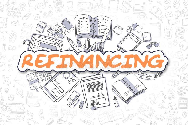 Refinancing - Cartoon Orange Word. Business Concept. Refinancing - Hand Drawn Business Illustration with Business Doodles. Orange Word - Refinancing - Doodle vector illustration