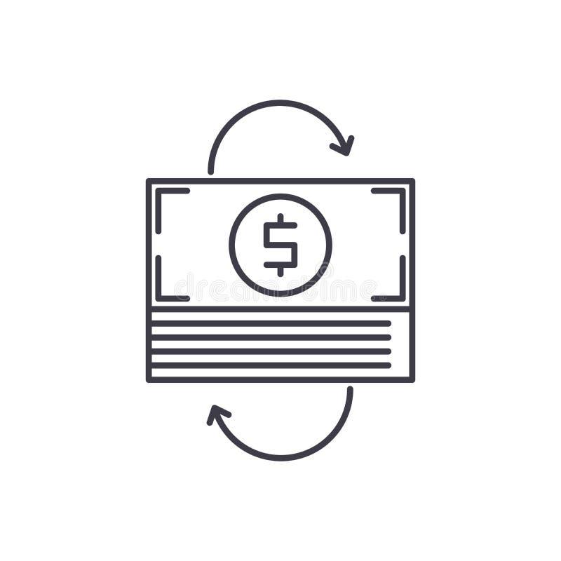 Refinansować kreskowego ikony pojęcie Refinansować wektorową liniową ilustrację, symbol, znak royalty ilustracja