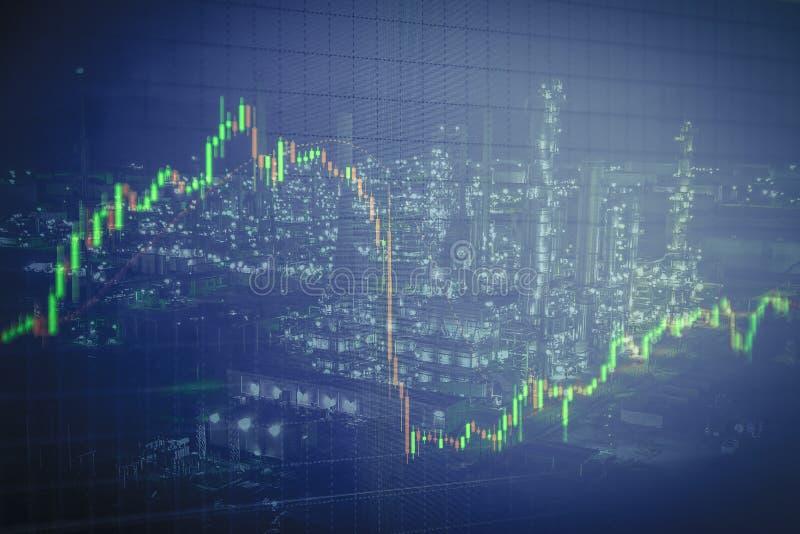 Refinaria de petróleo com fundo, negócio e fi do gráfico do castiçal ilustração stock