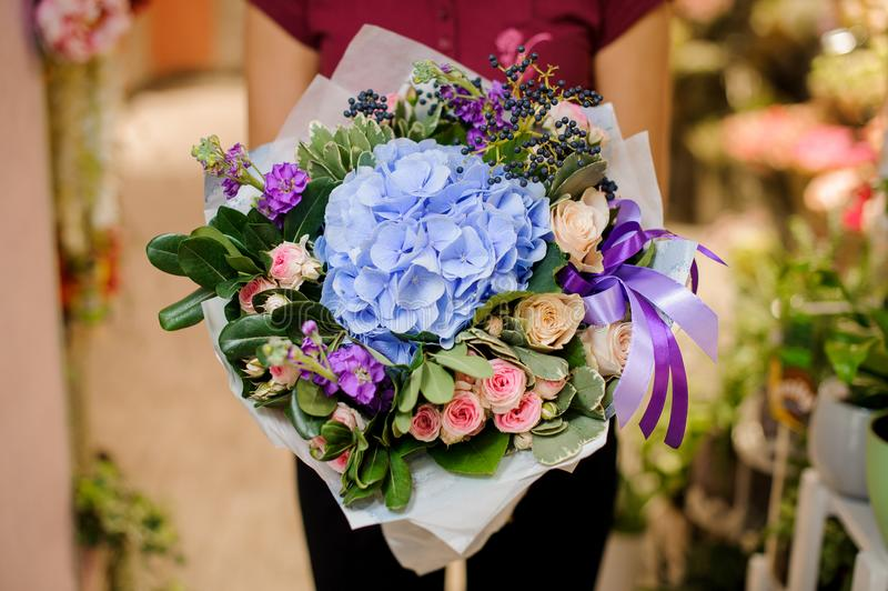 Refined and elegant bouquet of beautiful flowers royalty free stock photos