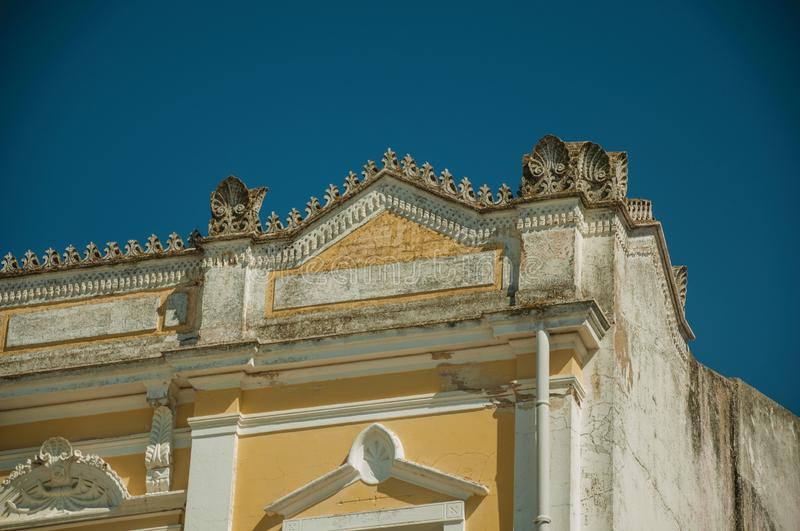 Refined masonry and plaster ornaments on building at Merida royalty free stock image