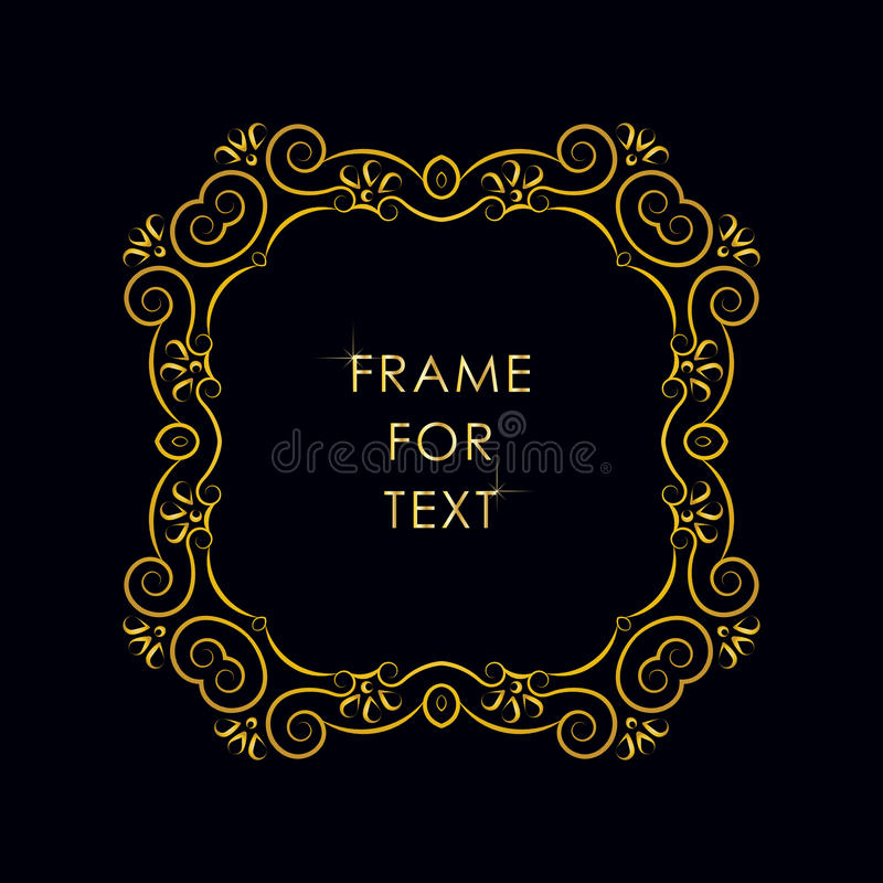 Refined round frame with space for text. Elegant golden frame in trendy outline style royalty free illustration