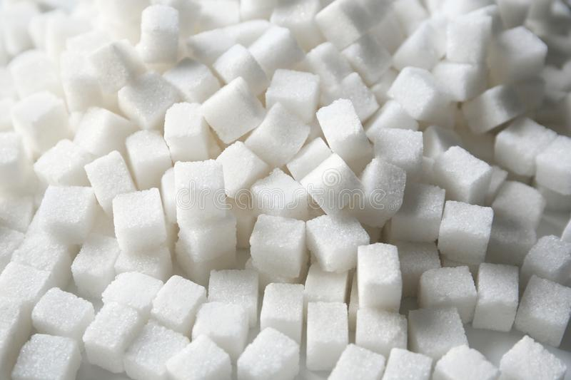 Refined sugar cubes. As background royalty free stock photography
