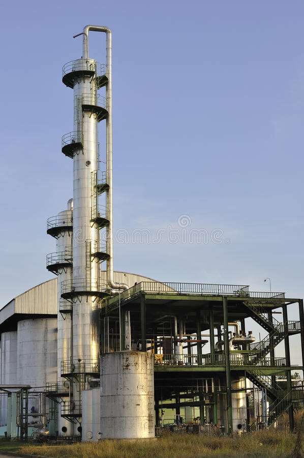 Refinería del etanol fotos de archivo libres de regalías
