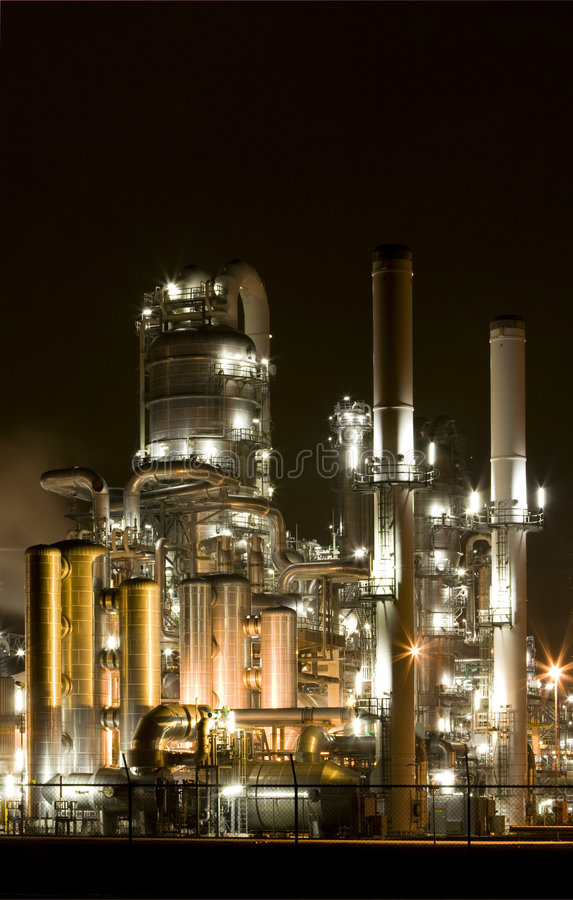 Free Refinery At Night Stock Image - 7889221