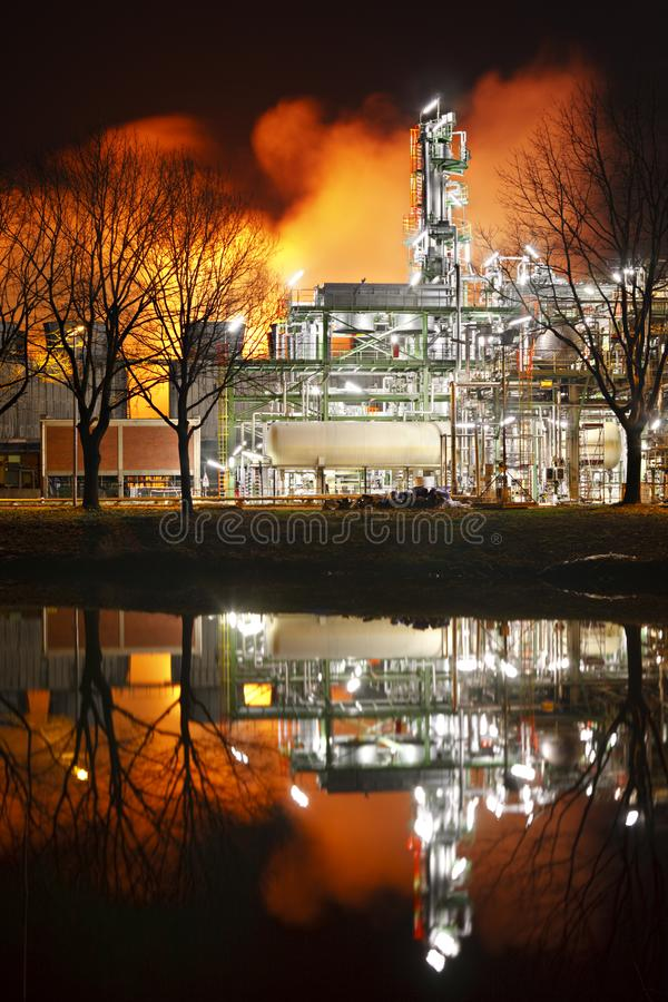 Refinery Distillation Tower At Night royalty free stock photography