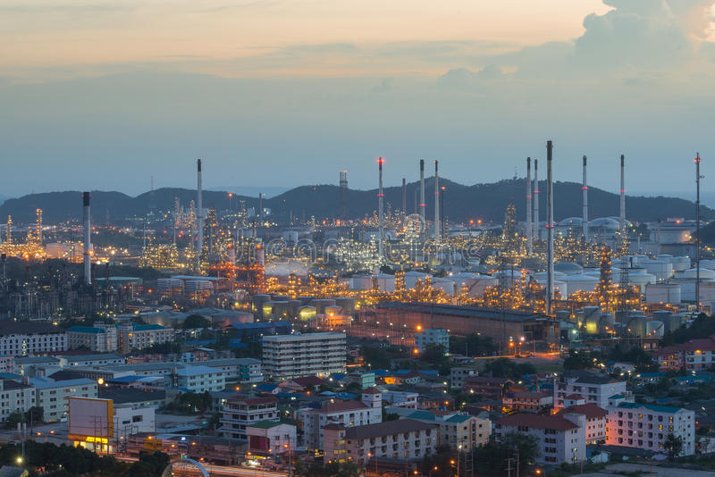 Refinery factory plant in heavy industry estate ,Chonburi ,Thailand.  royalty free stock photography