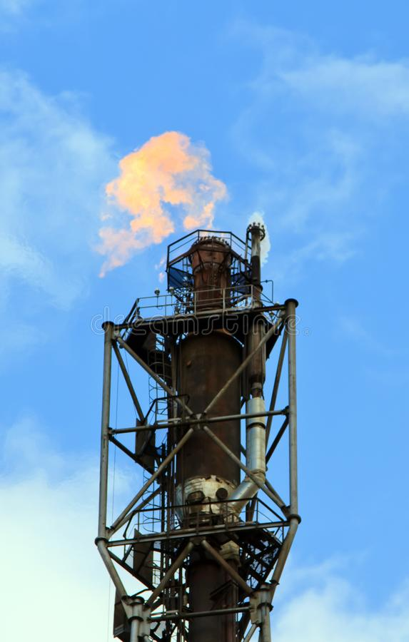 Refinery fire gas torch stock photo