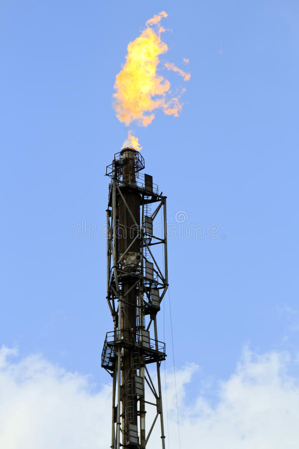 Refinery fire gas torch royalty free stock photography