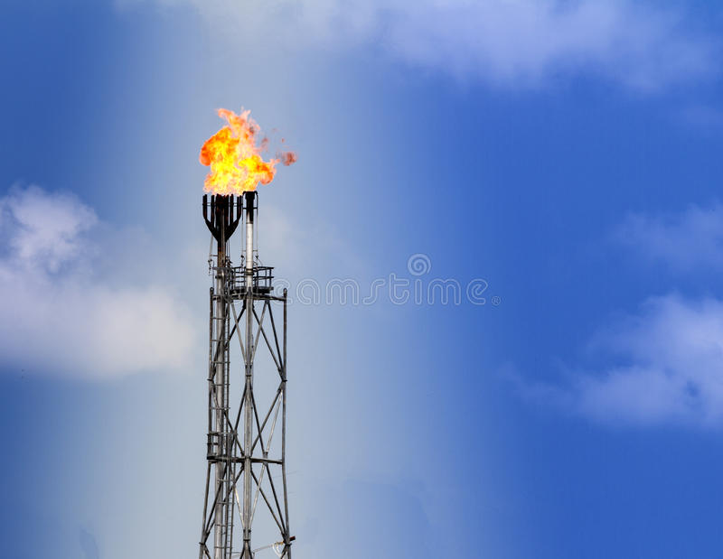 Refinery fire gas torch royalty free stock images