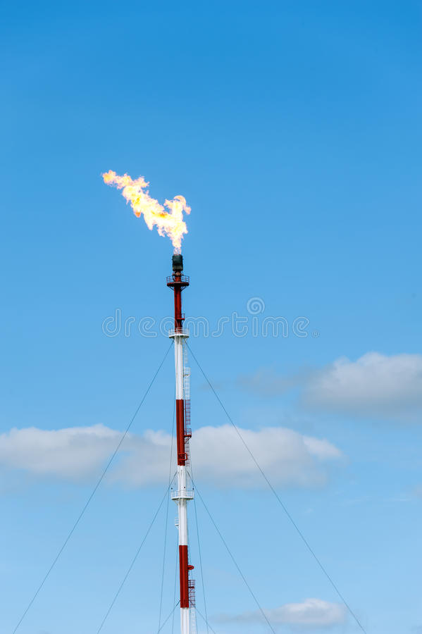 Refinery fire gas torch. stock photo