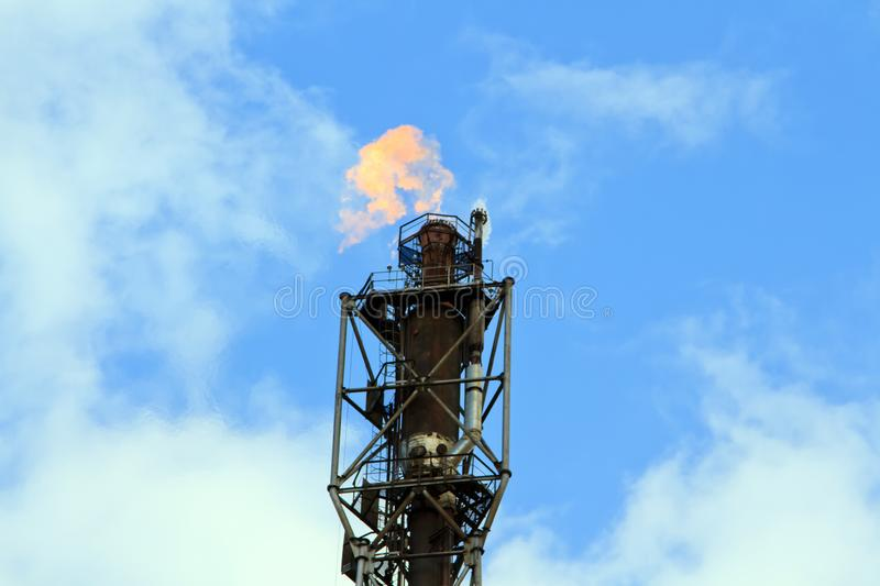 Refinery fire gas torch royalty free stock photos