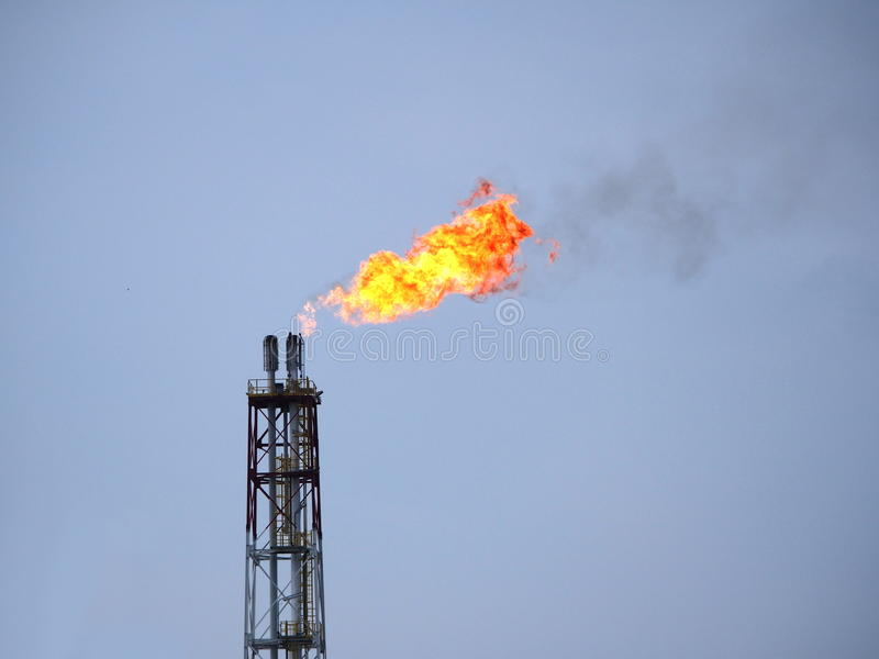 Refinery fire gas torch royalty free stock image